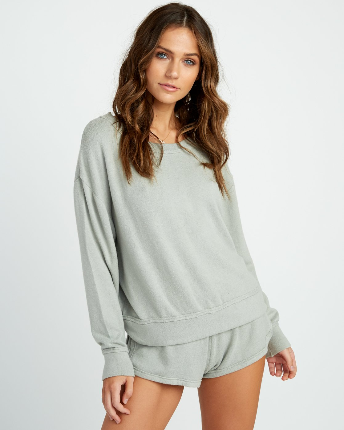 0 Daydream Knit Sweatshirt Green P3FLRBRVS9 RVCA