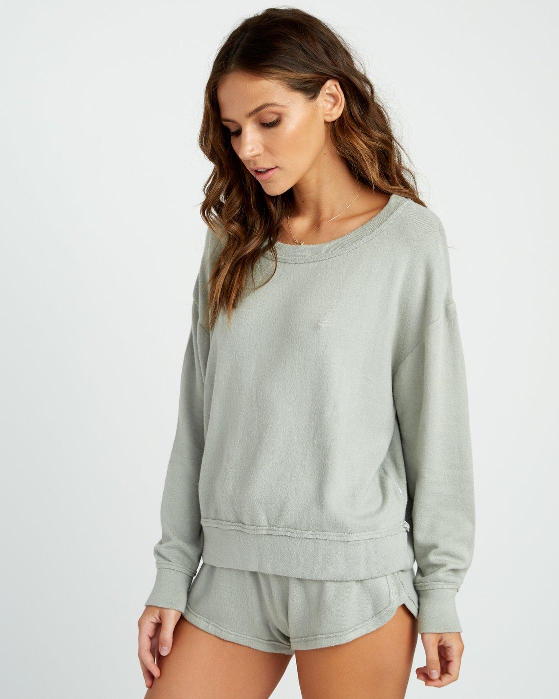 1 Daydream Knit Sweatshirt Green P3FLRBRVS9 RVCA