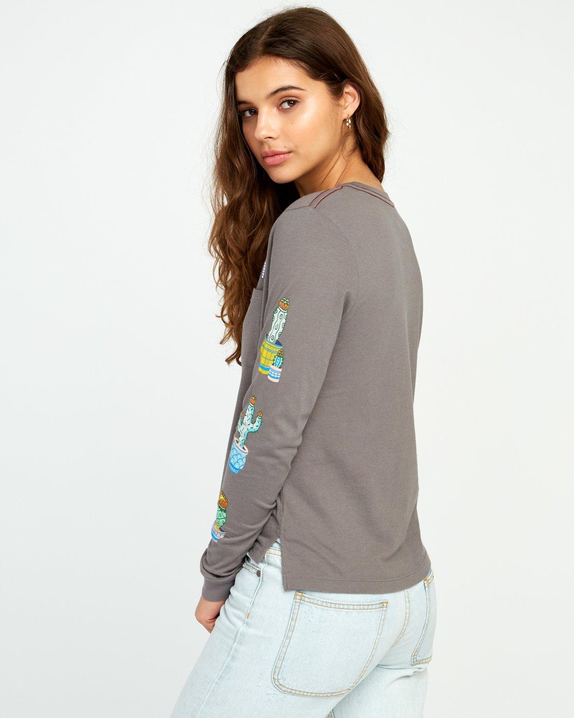2 Cacti Ls T-Shirt Grey P3LSRARVS9 RVCA
