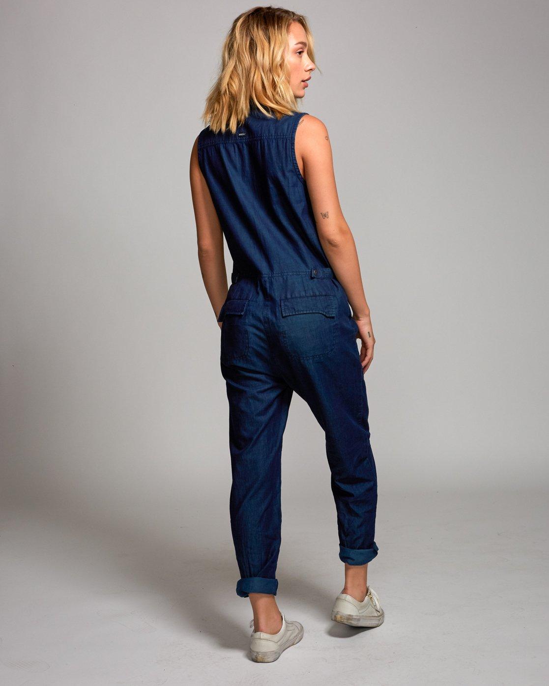 3 Ellis Coverall Jumpsuit Blue P3ONRIRVS9 RVCA