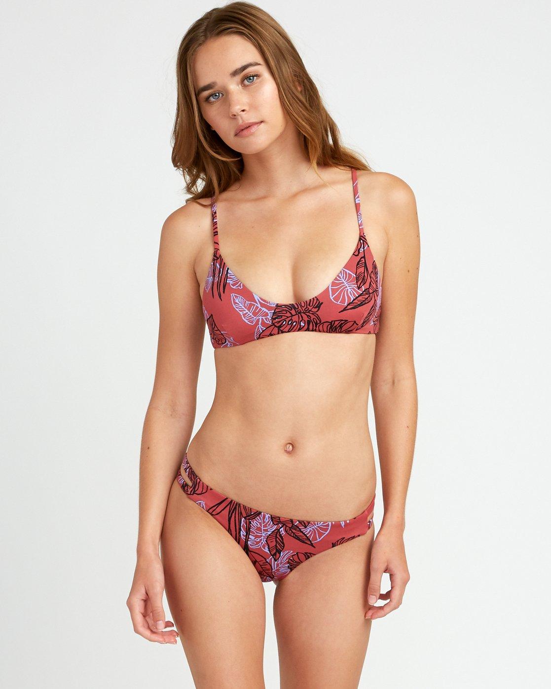 2 Tropic Punch Full Bikini Bottoms Red P3SBRSRVS9 RVCA