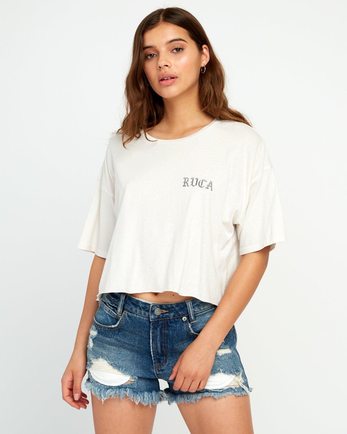0 Beware Ss T-Shirt White P3SSRBRVS9 RVCA