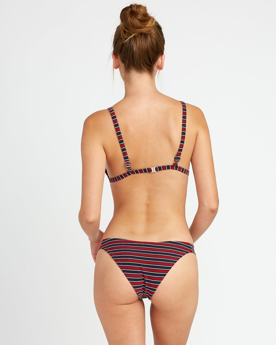 2 Red White RVCA - Triangle Striped Bikini Top for Women Blue P3STRBRVS9 RVCA