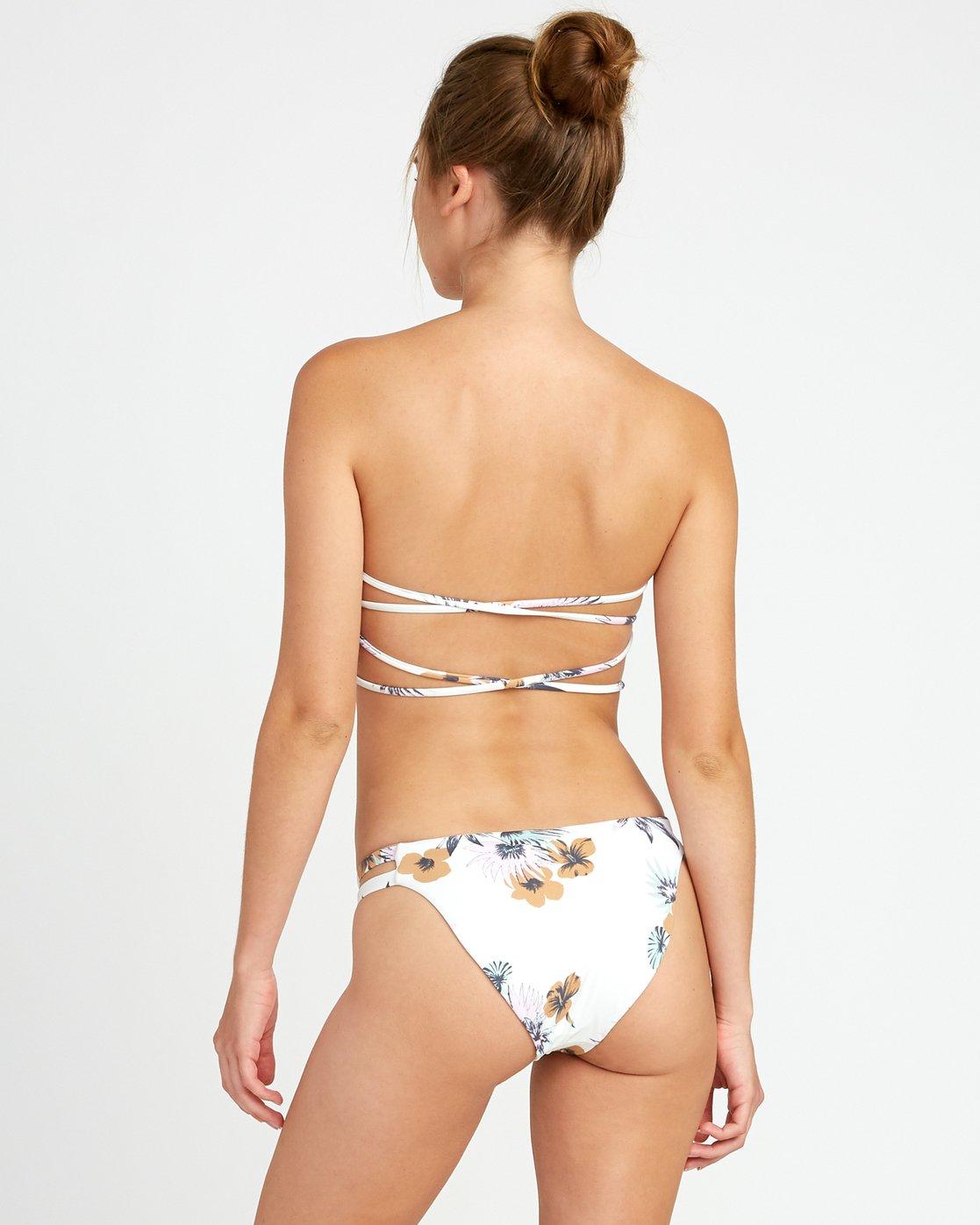 2 Romeo Floral Bandeau Bikini Top White P3STRORVS9 RVCA