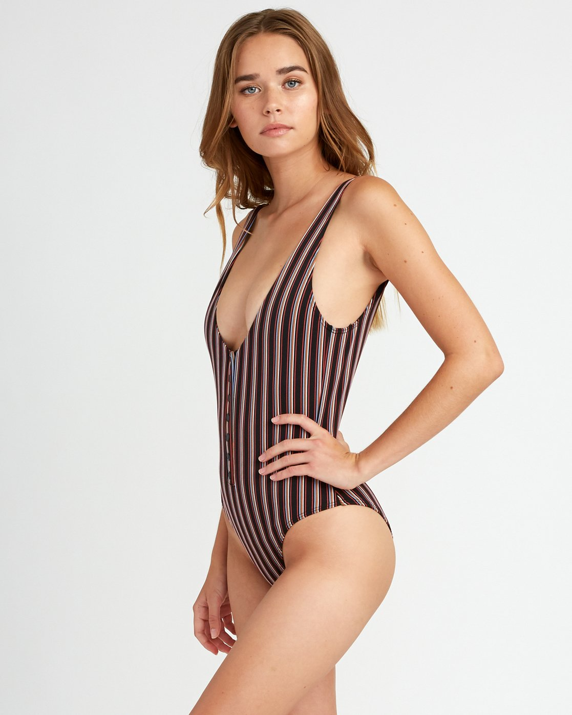 1 Bandit Striped Cheeky One Piece Swimsuit Black P3SWRDRVS9 RVCA