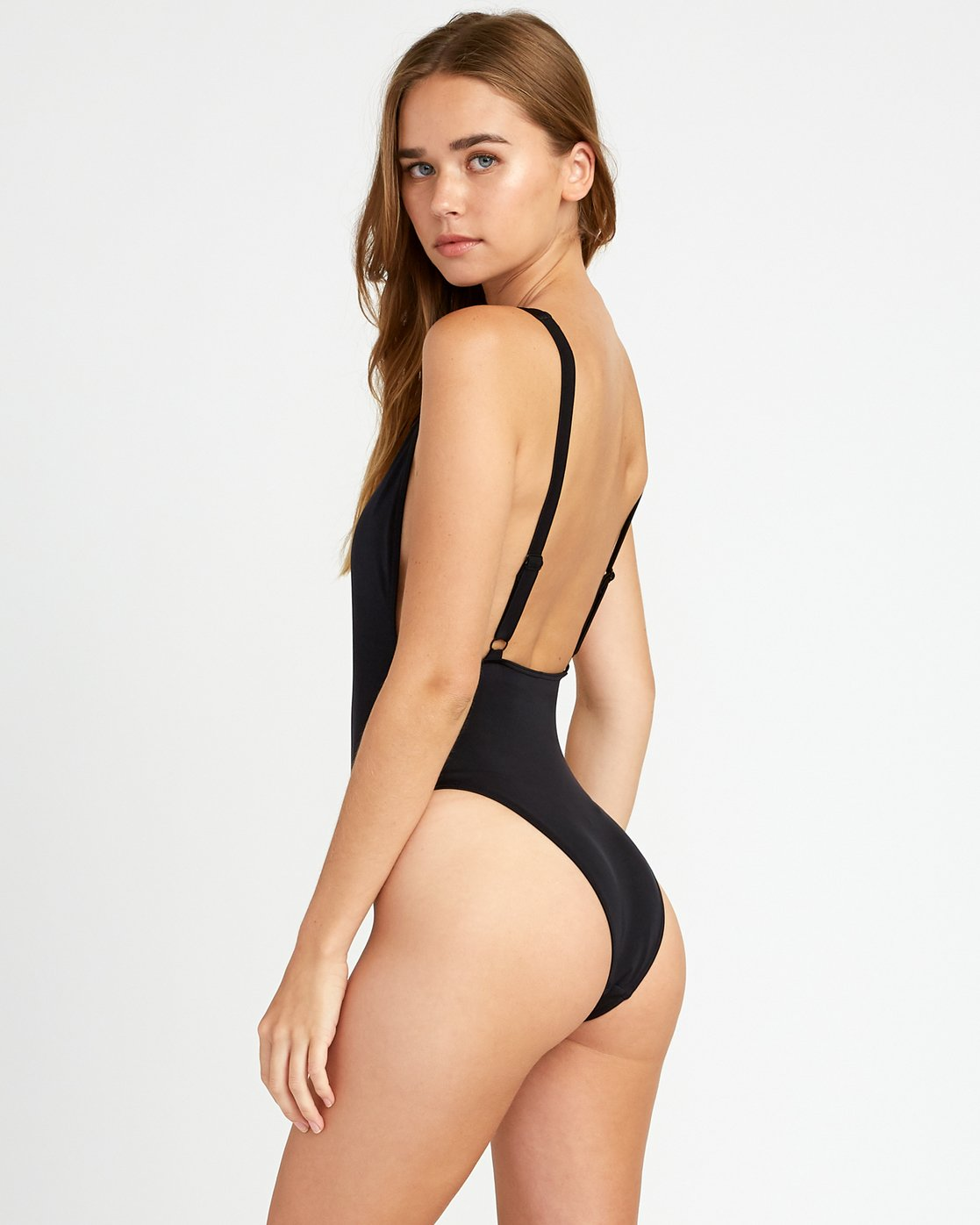 2 Solid Scoop Cheeky One Piece Swimsuit Black P3SWRJRVS9 RVCA