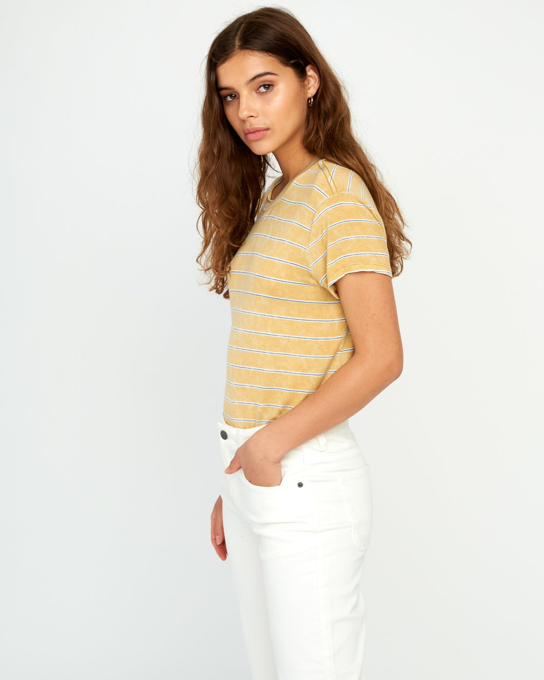 1 Recess Striped Knit T-Shirt Yellow P3TPRBRVS9 RVCA