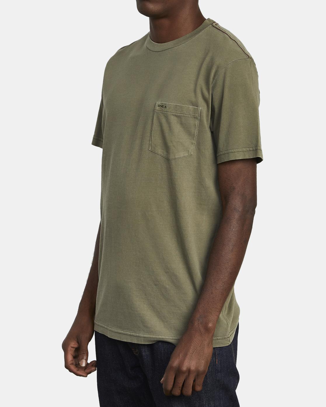 3 Ptc 2 Pigment - Pocket T-Shirt for Men Green Q1KTRORVF9 RVCA