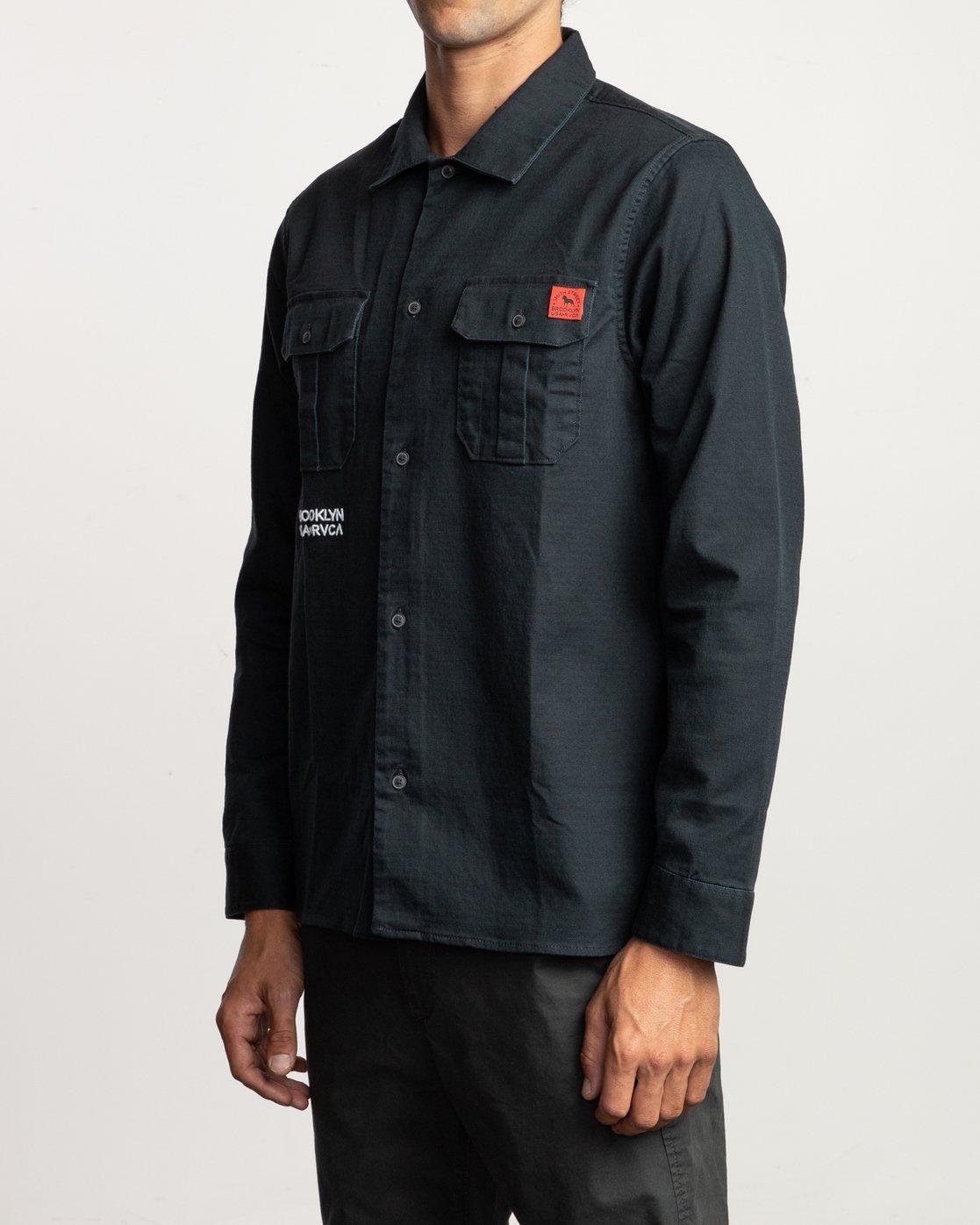 3 Smith Street  - Long Sleeve Shirt Black Q1SHRHRVF9 RVCA