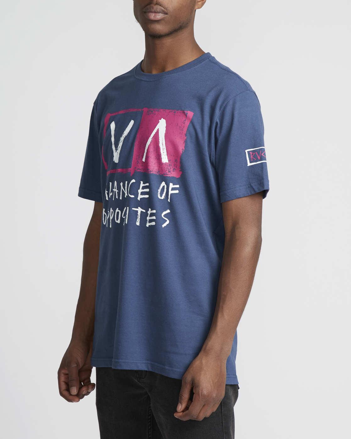 3 RVCA Blocker  - Short Sleeve T-Shirt Blue Q1SSSARVF9 RVCA