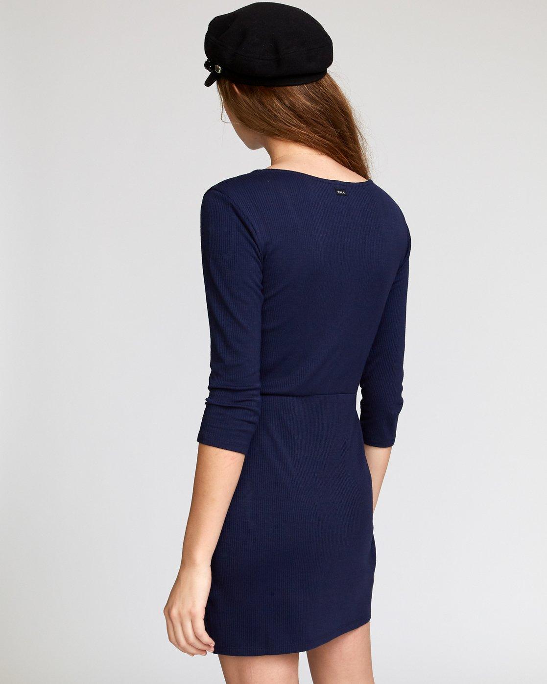 2 Twister  - Ribbed Long Sleeve Dress Blue Q3DRRGRVF9 RVCA