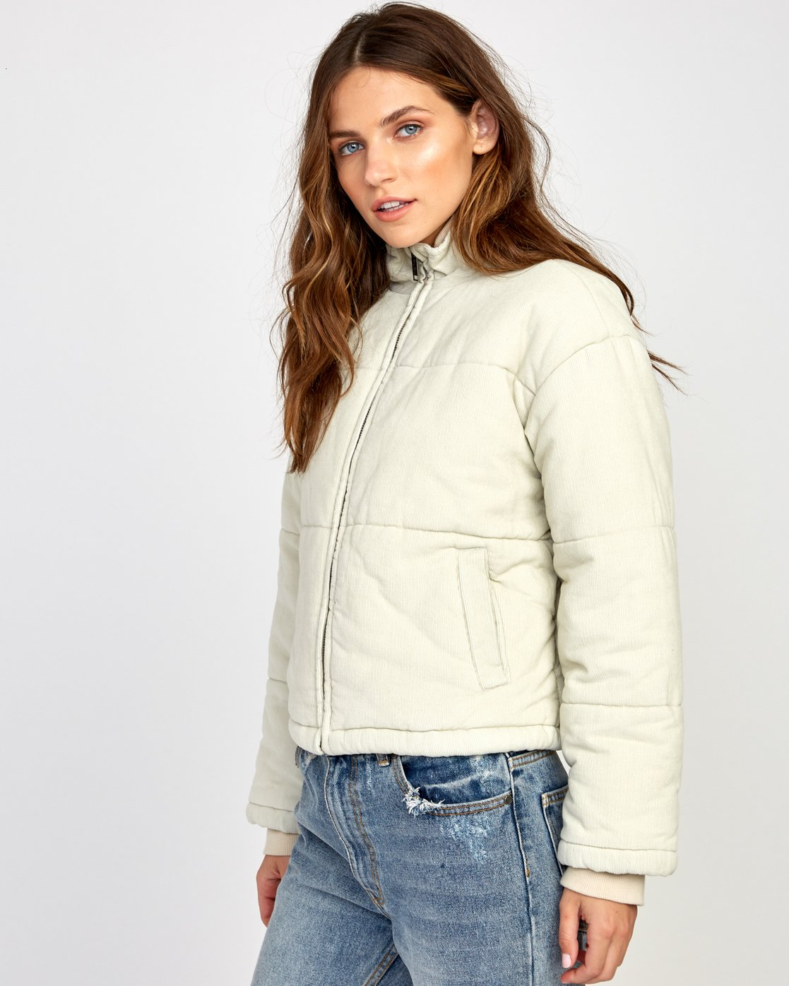 3 Eezeh Puffer  - Cropped Jacket Beige Q3JKRGRVF9 RVCA