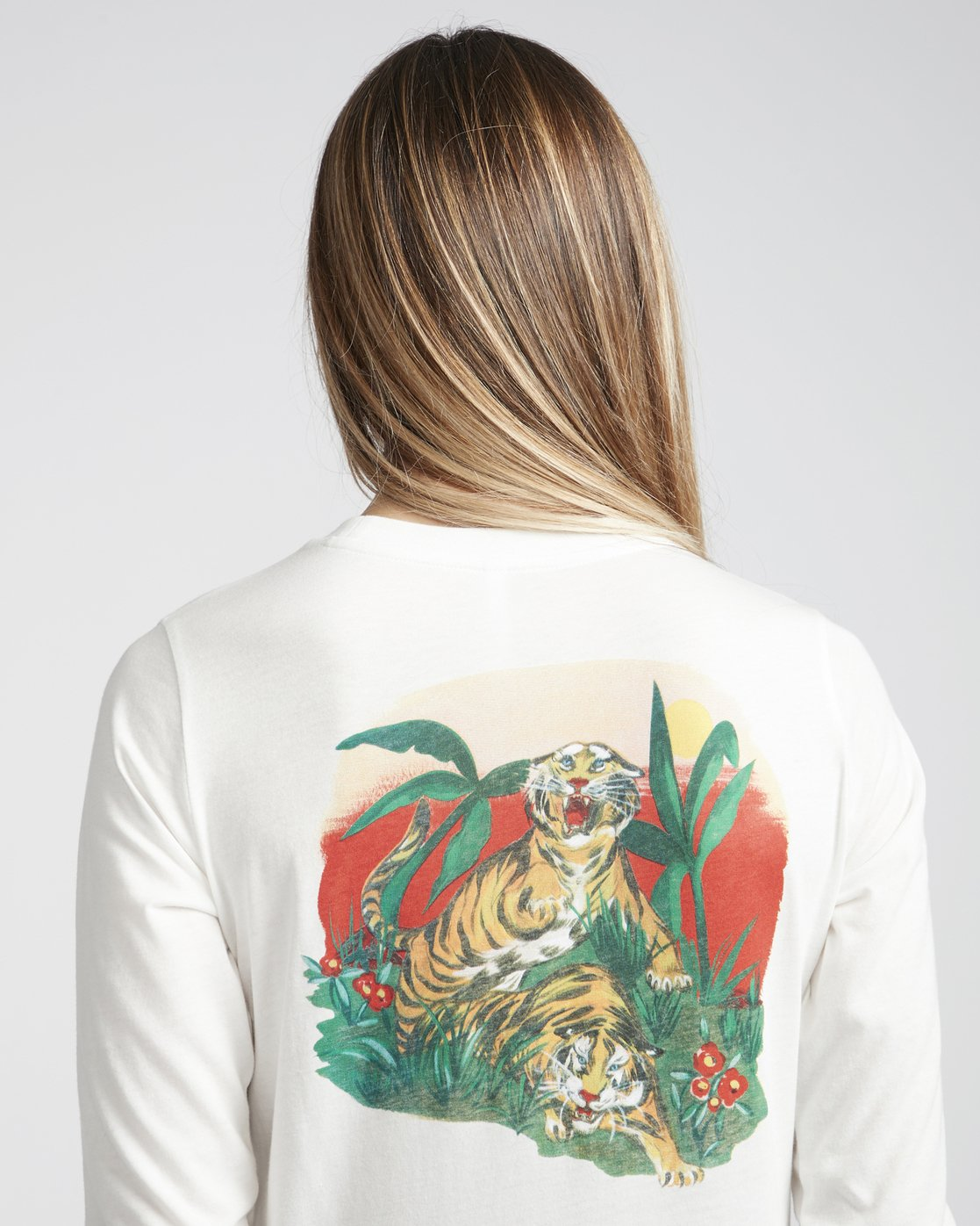 2 Melissa Grisancich Tiger Attack  - Long Sleeve T-Shirt White Q3LSRERVF9 RVCA