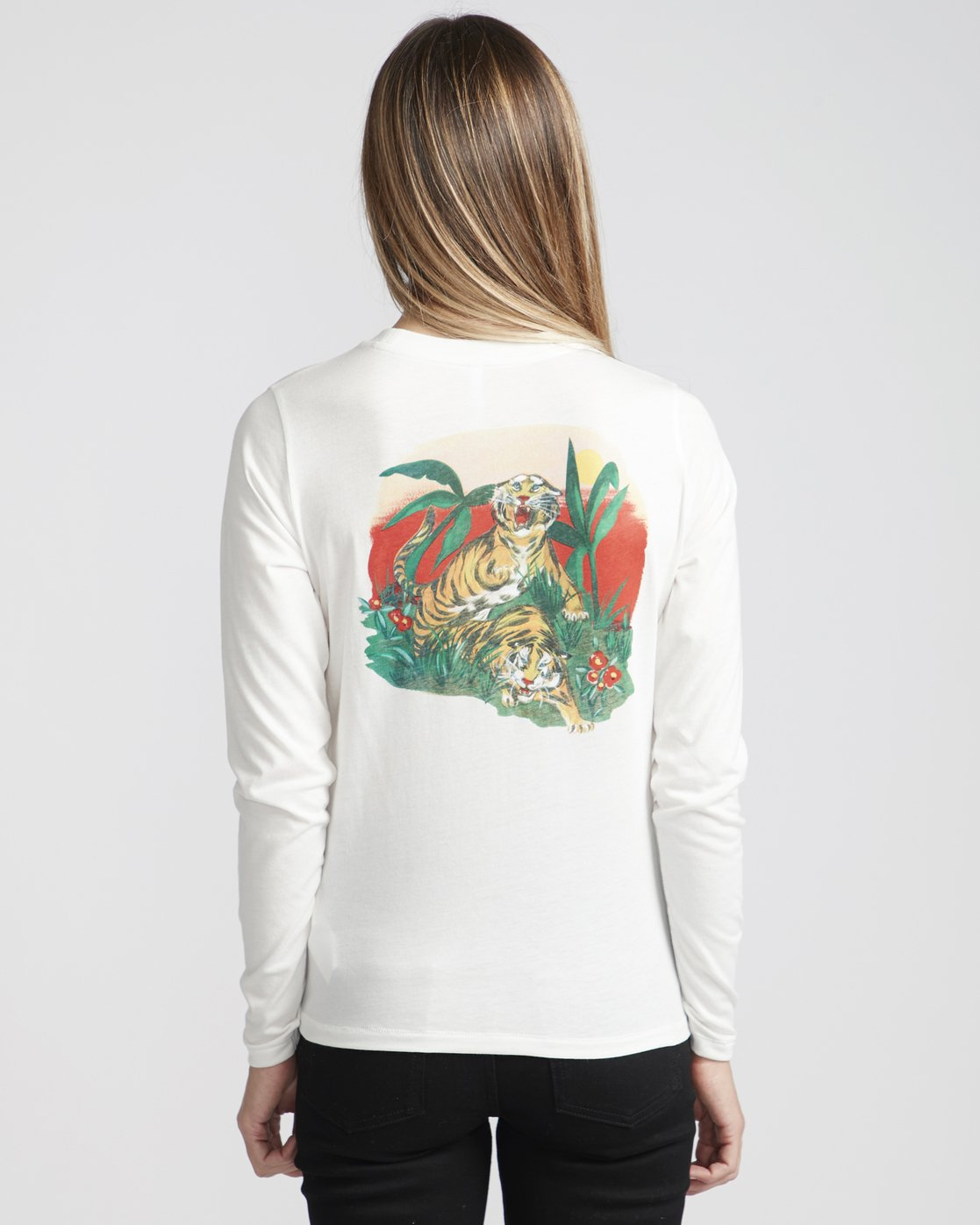 0 Melissa Grisancich Tiger Attack  - Long Sleeve T-Shirt White Q3LSRERVF9 RVCA