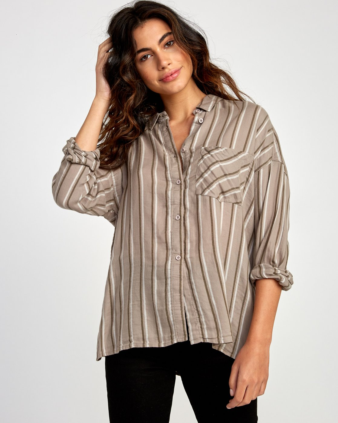 0 Hera  - Oversized Button-Up Shirt  Q3SHRBRVF9 RVCA