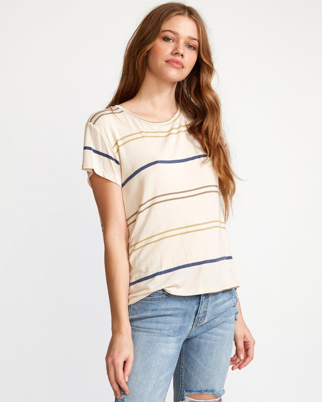0 Recess 2  - Knit T-Shirt Beige Q3TPRBRVF9 RVCA