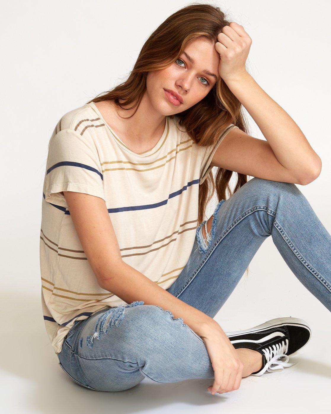 1 Recess 2  - Knit T-Shirt Beige Q3TPRBRVF9 RVCA