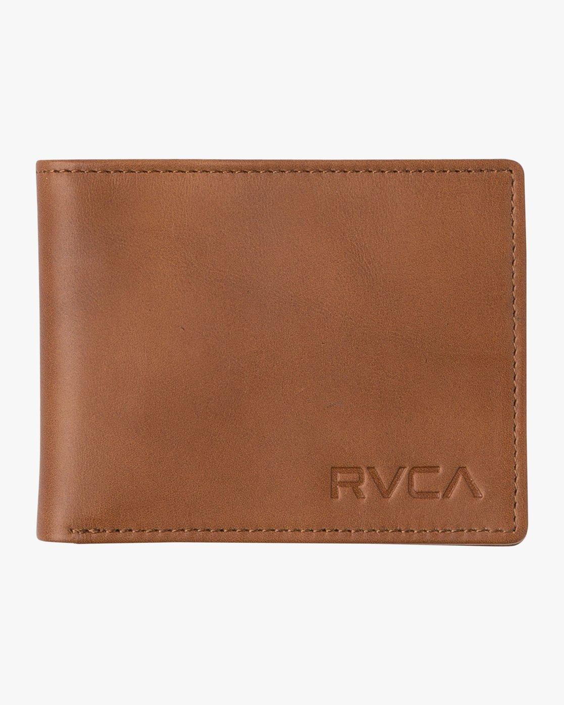 0 Crest Bifold - Leather Bi-Fold Wallet for Men Beige Q5WLRBRVF9 RVCA