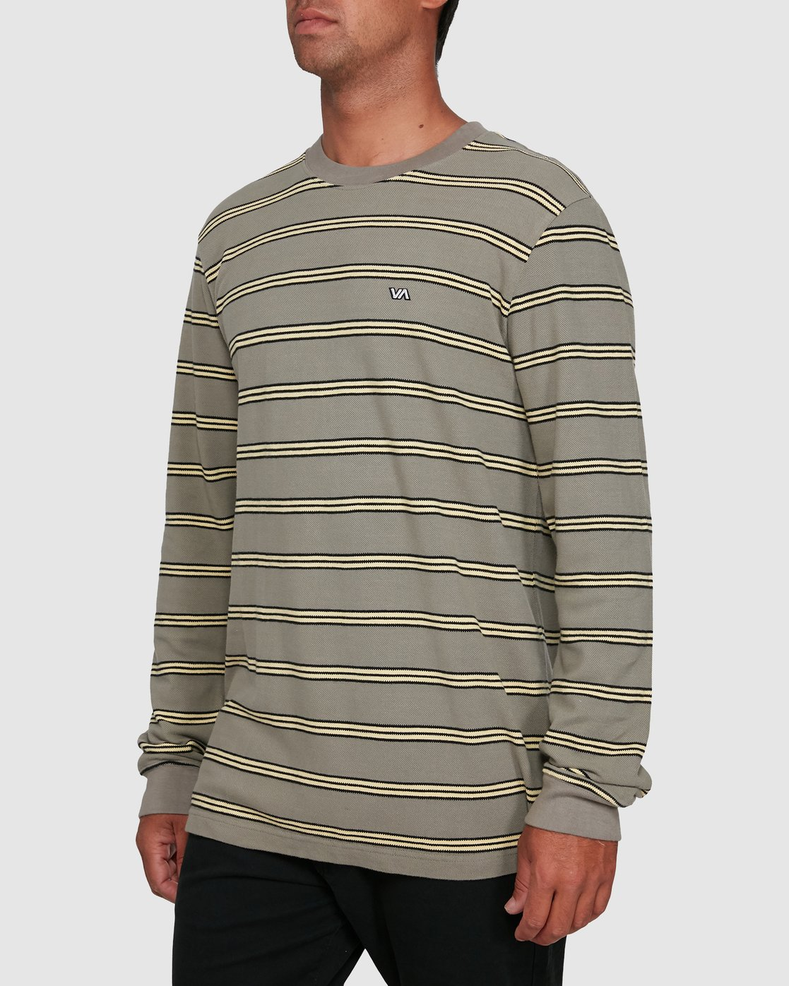 2 BLOOM PIQUE STRIPE LS TEE Green R105091 RVCA