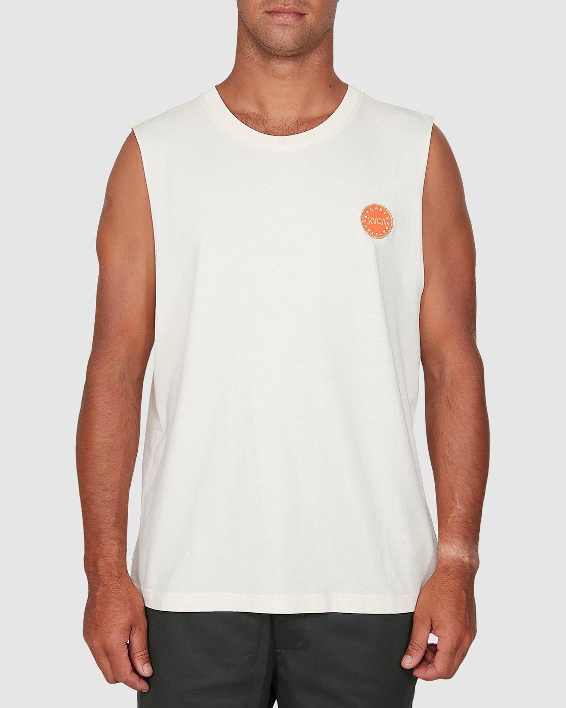 2 Sun Of Rvca Muscle Top White R106008 RVCA