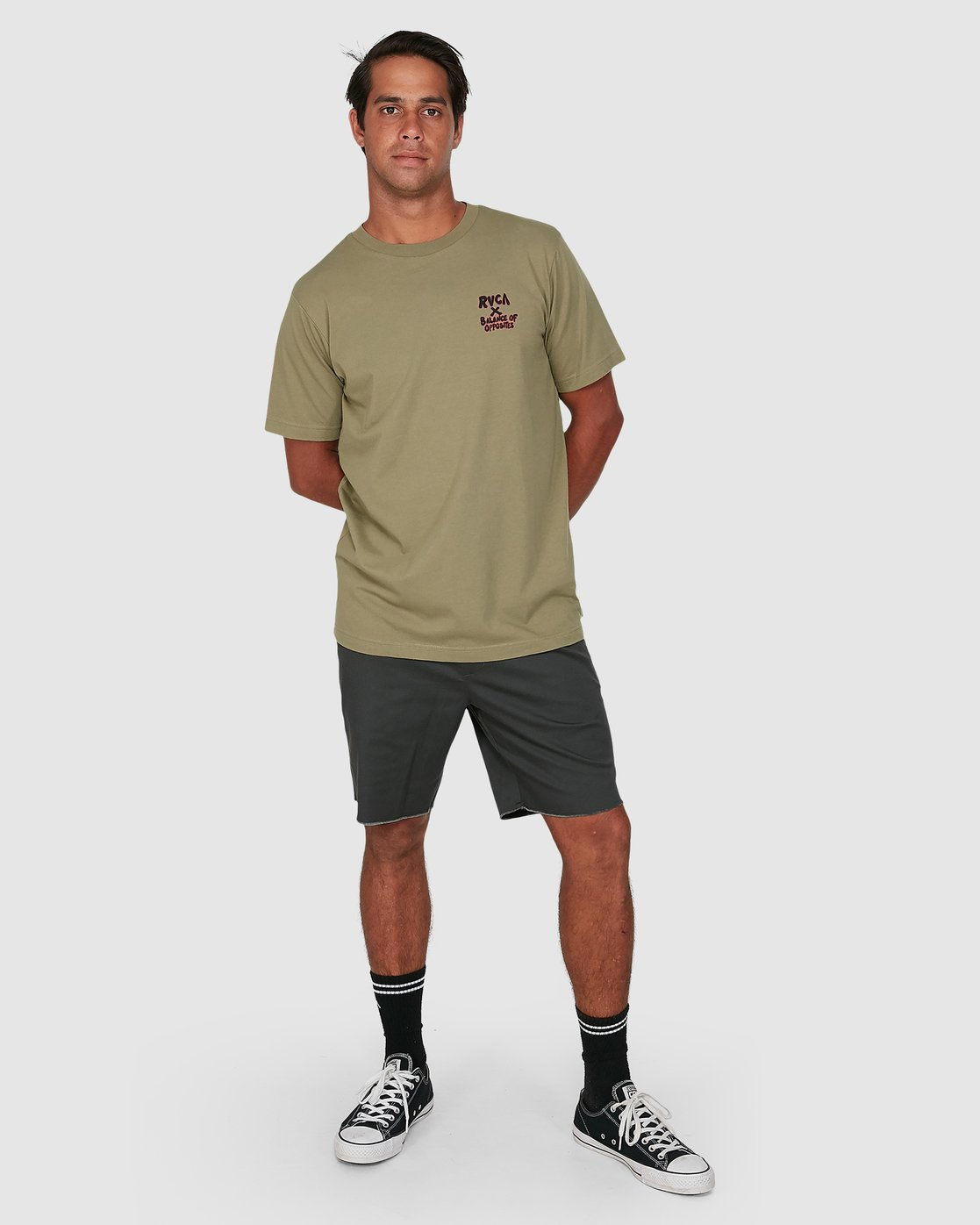 5 Red Belly Short Sleeve Tee Green R106046 RVCA