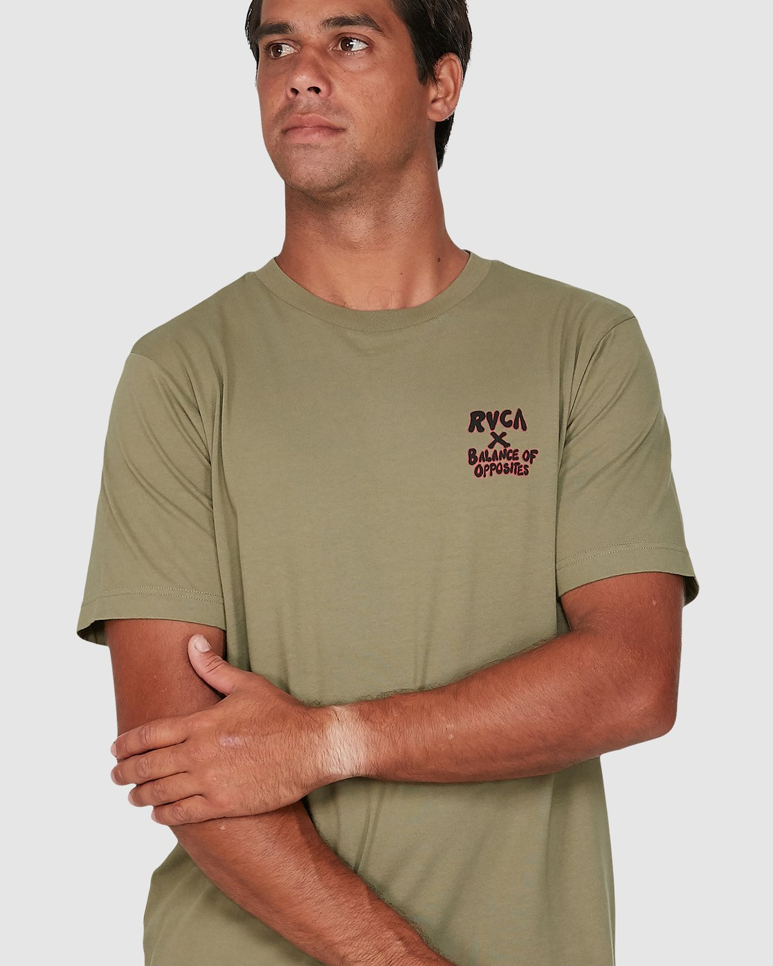 3 Red Belly Short Sleeve Tee Green R106046 RVCA