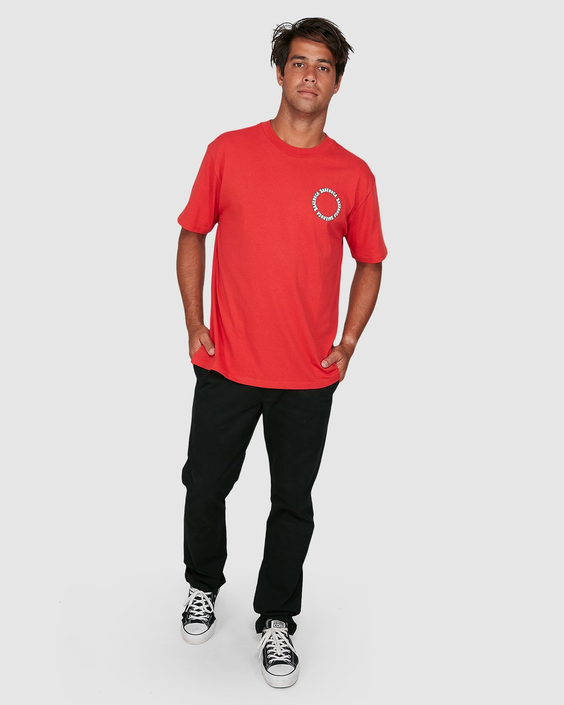 5 Baker Rvca Short Sleeve Tee Red R106068 RVCA