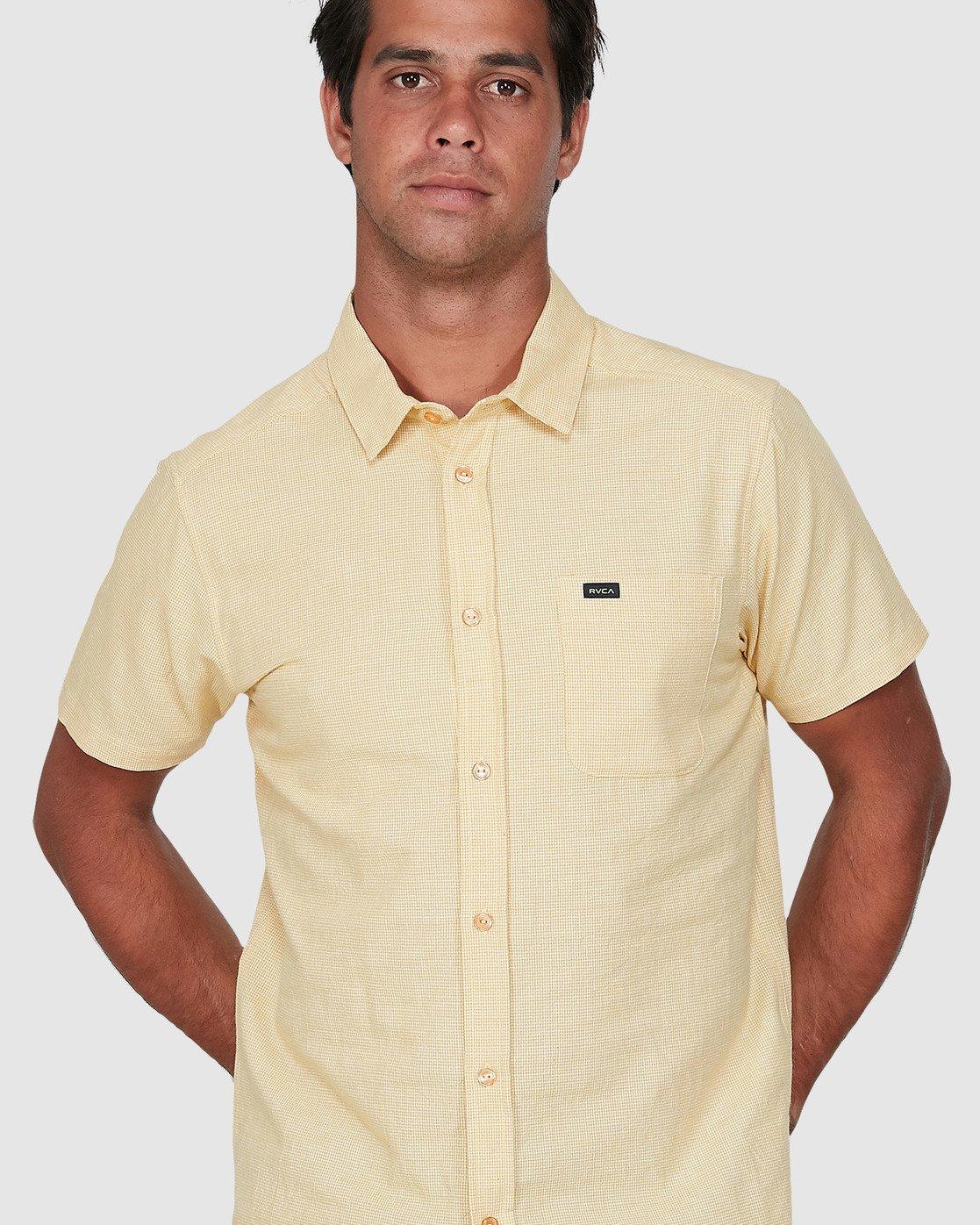 3 Crushed Check Short Sleeve Shirt Yellow R106187 RVCA