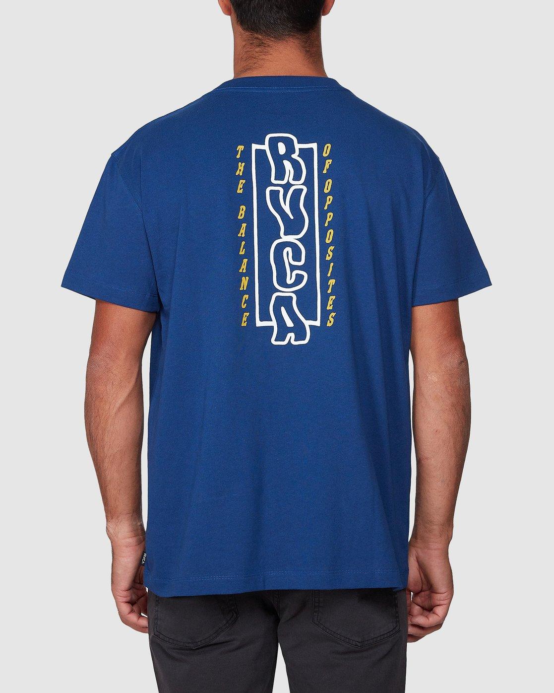 3 Heat Wave Short Sleeve Tee Blue R107047 RVCA