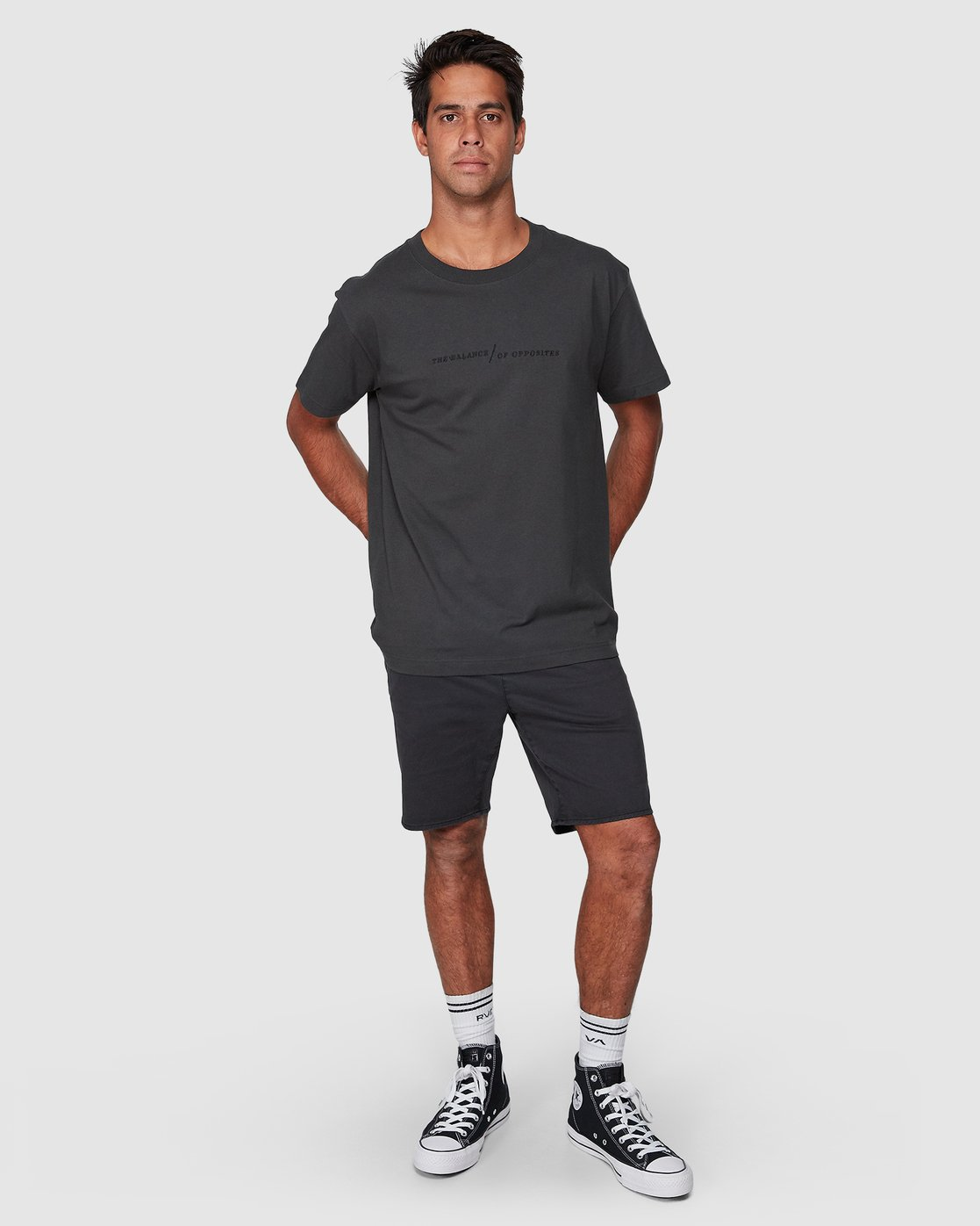 5 Italic Short Sleeve Tee Black R107052 RVCA