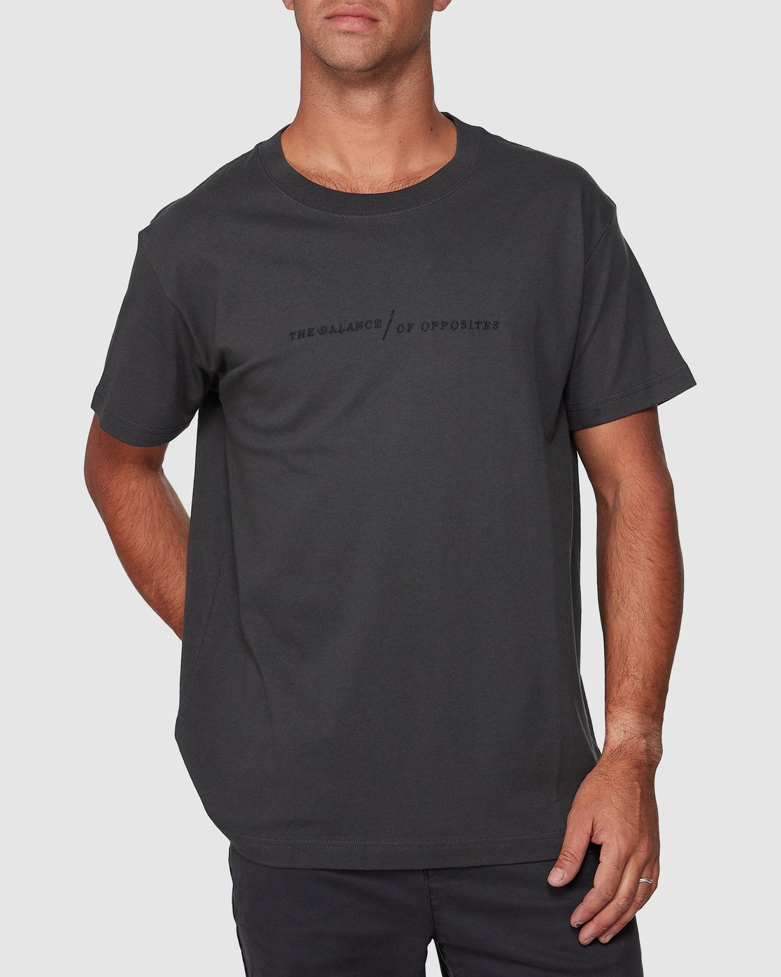 0 Italic Short Sleeve Tee Black R107052 RVCA