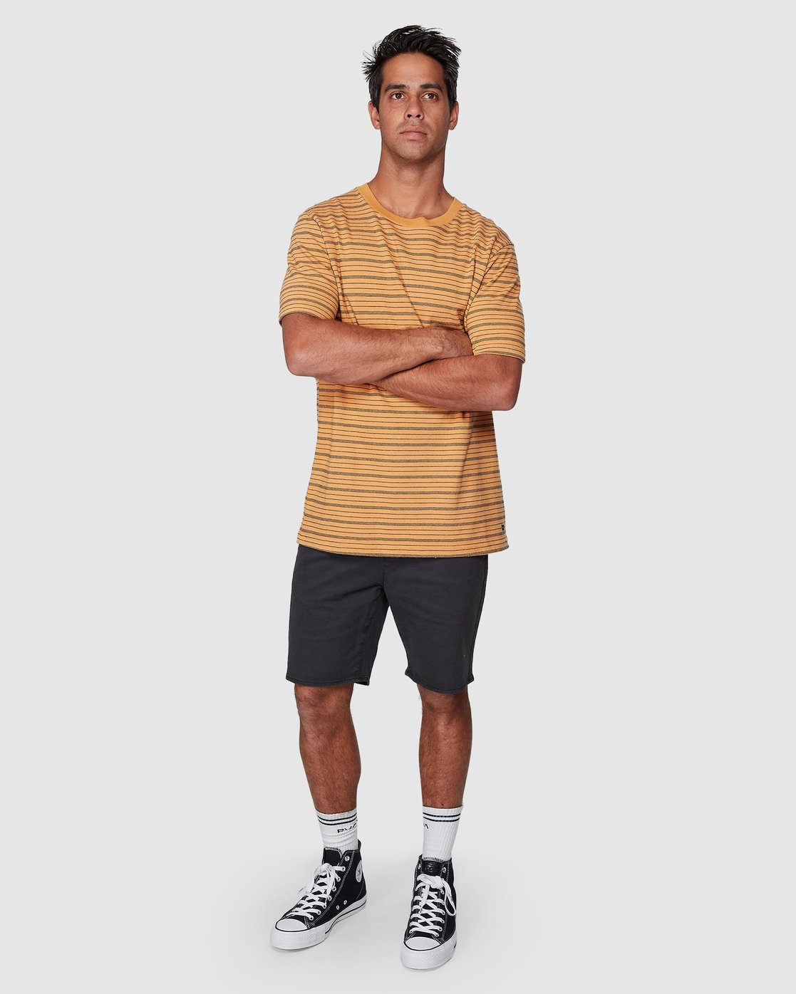 5 Rain Stripe Short Sleeve Tee Orange R107062 RVCA