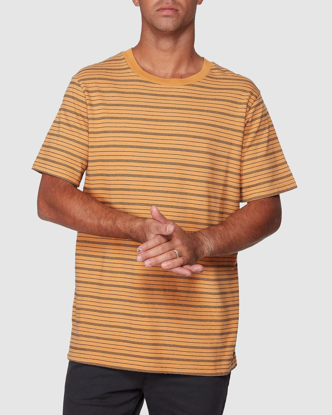 1 Rain Stripe Short Sleeve Tee Orange R107062 RVCA