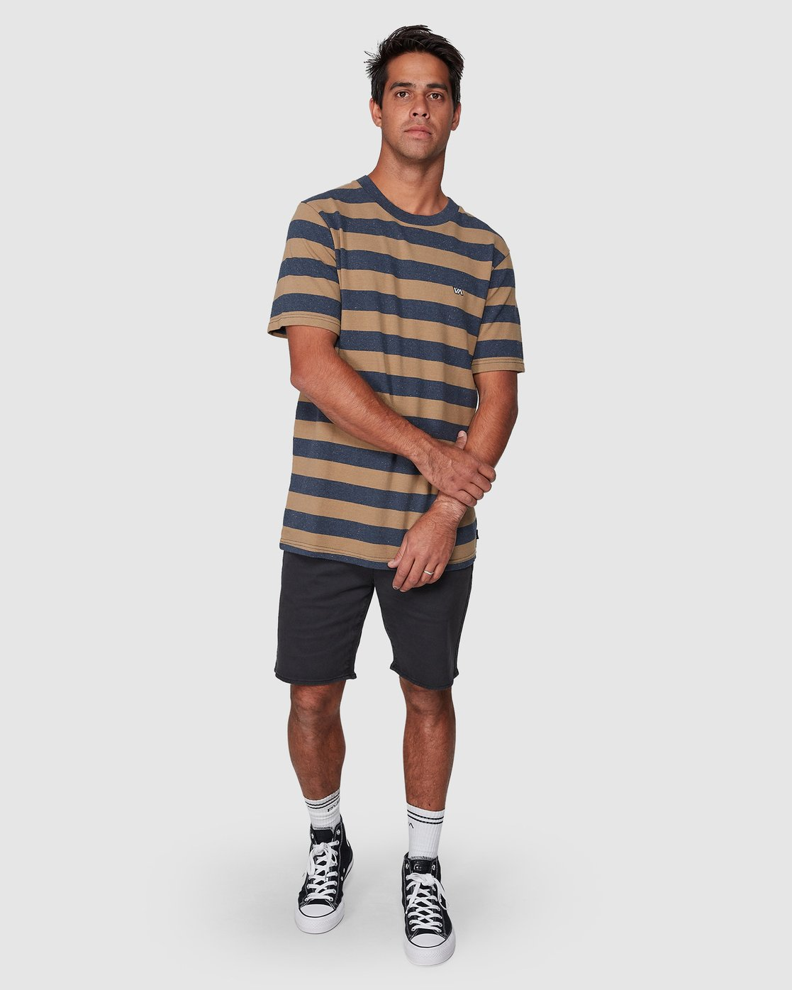 5 Shallow End Stripe Short Sleeve Tee Blue R107063 RVCA