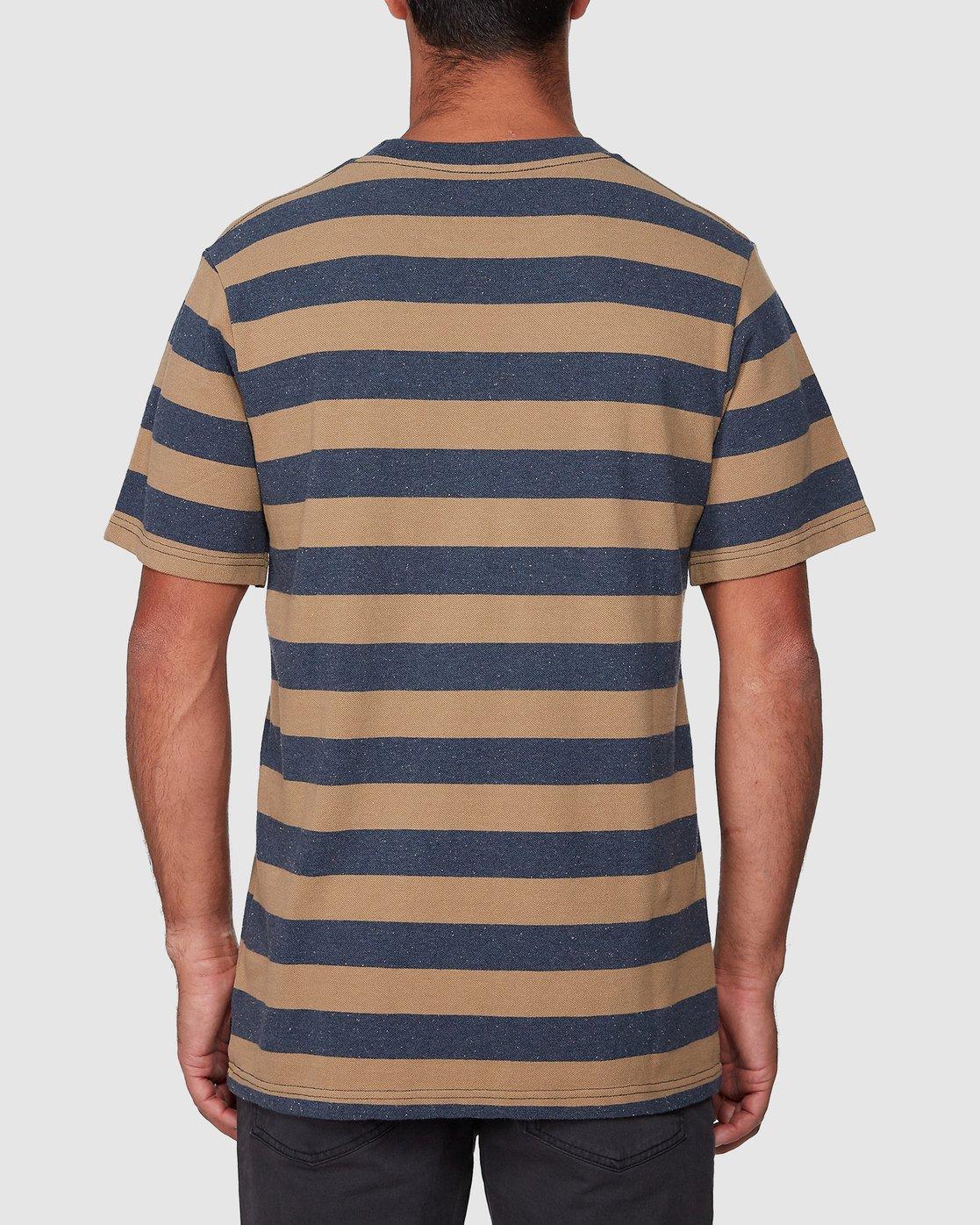 3 Shallow End Stripe Short Sleeve Tee Blue R107063 RVCA