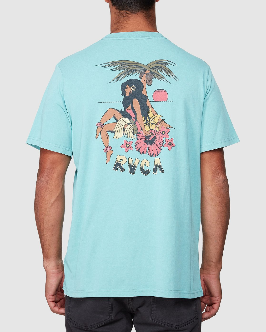 3 DMOTE Aloha Short Sleeve Tee Blue R107065 RVCA
