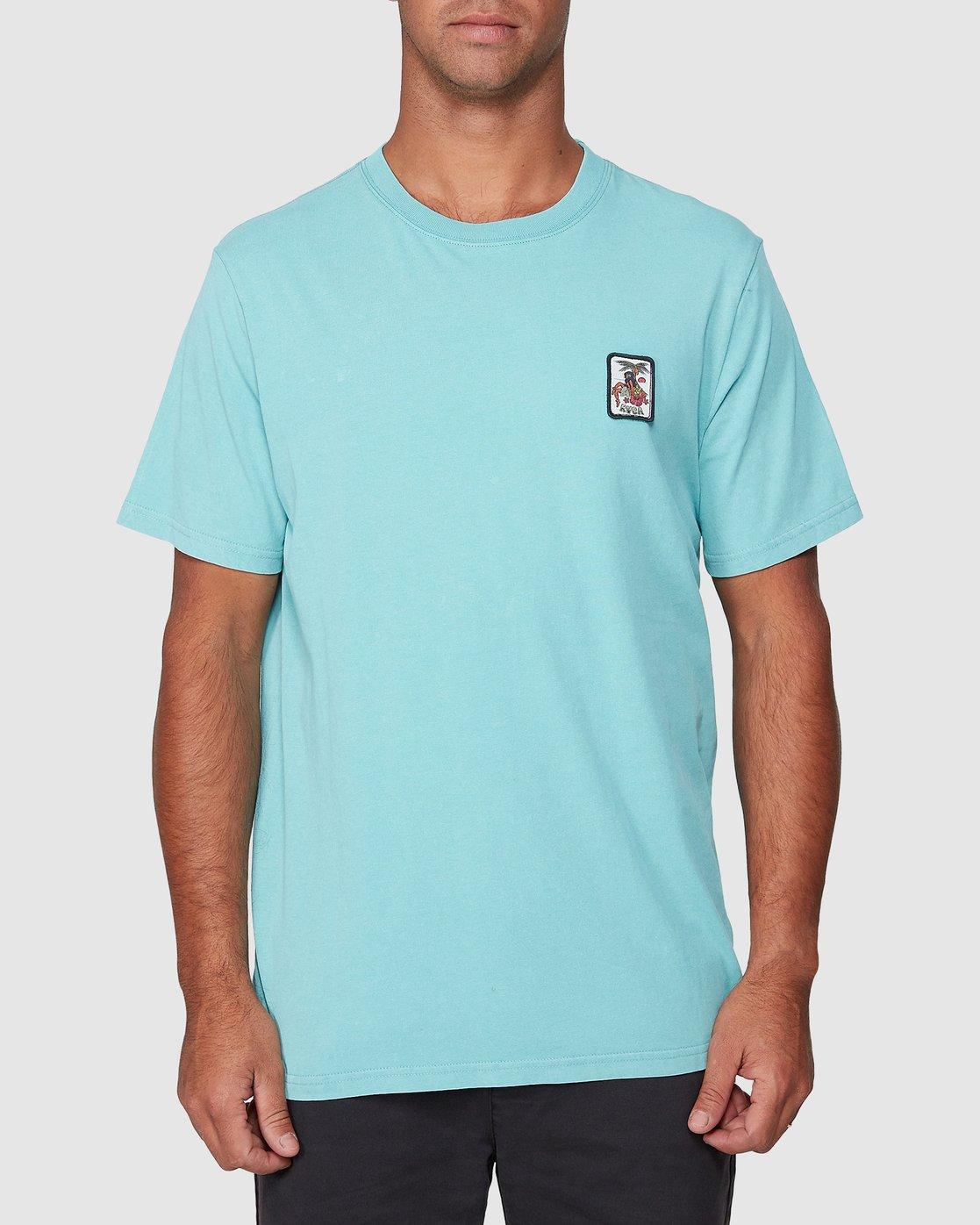 1 DMOTE Aloha Short Sleeve Tee Blue R107065 RVCA