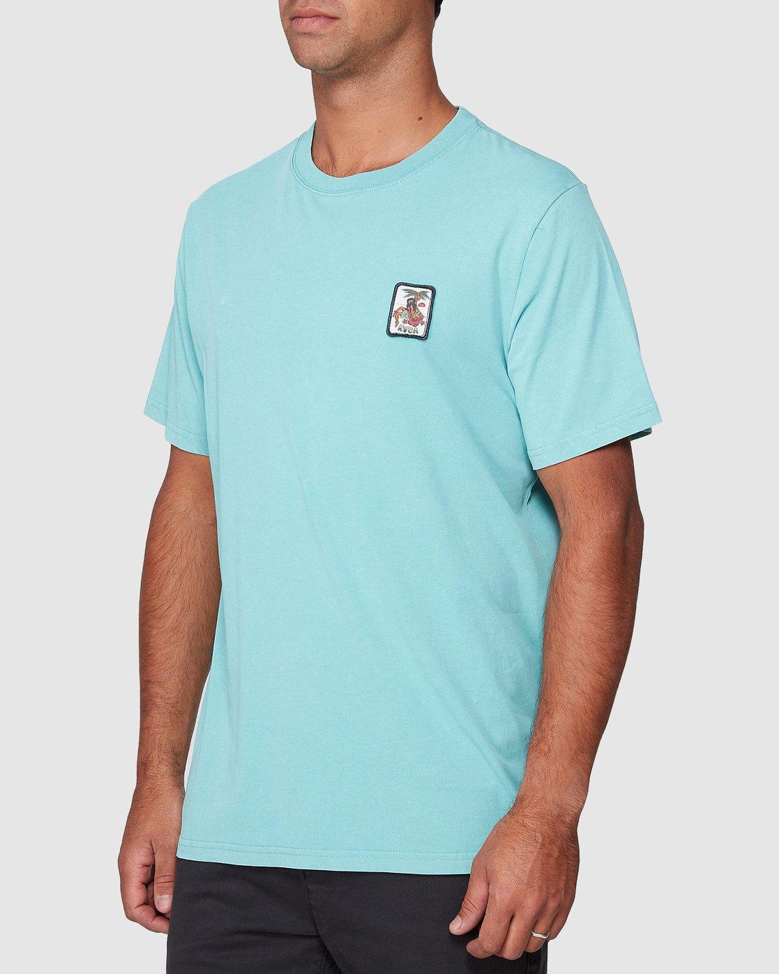 2 DMOTE Aloha Short Sleeve Tee Blue R107065 RVCA