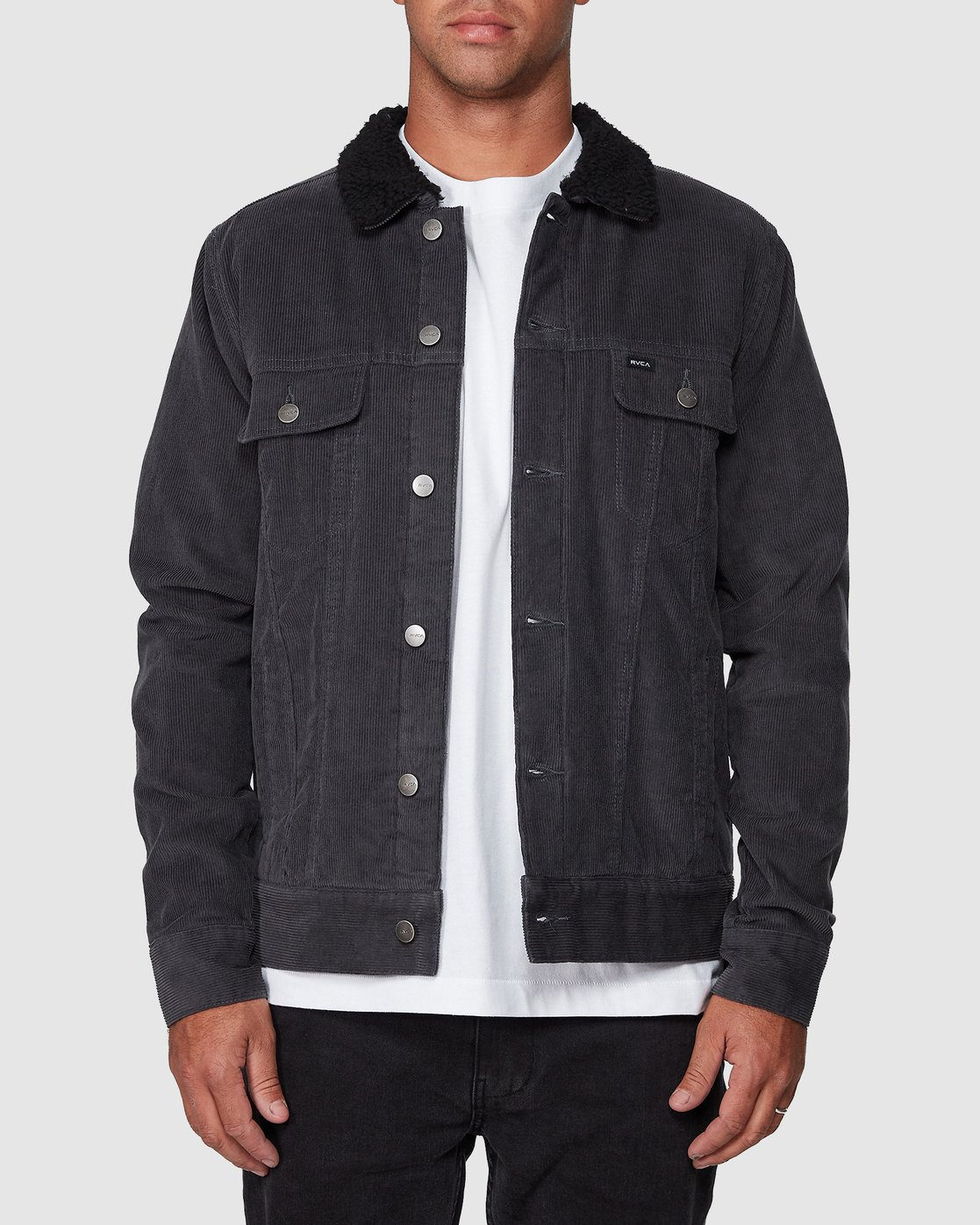 1 Daggers Cord Sherpa Jacket Grey R107433 RVCA