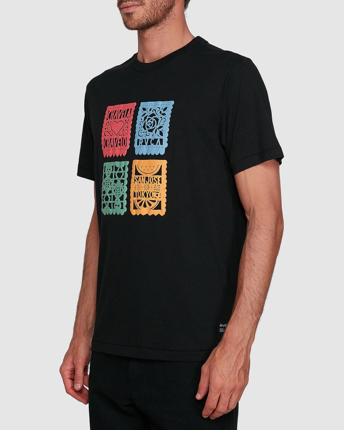 1 Paper Picados Short Sleeve Tee Black R108045 RVCA