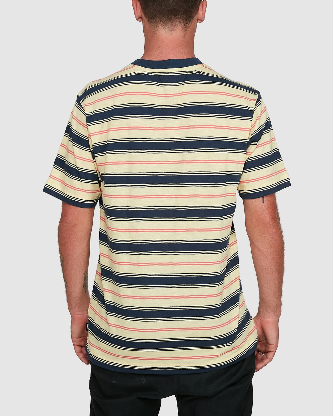 3 Dudes Stripe Short Sleeve Tee Yellow R108050 RVCA