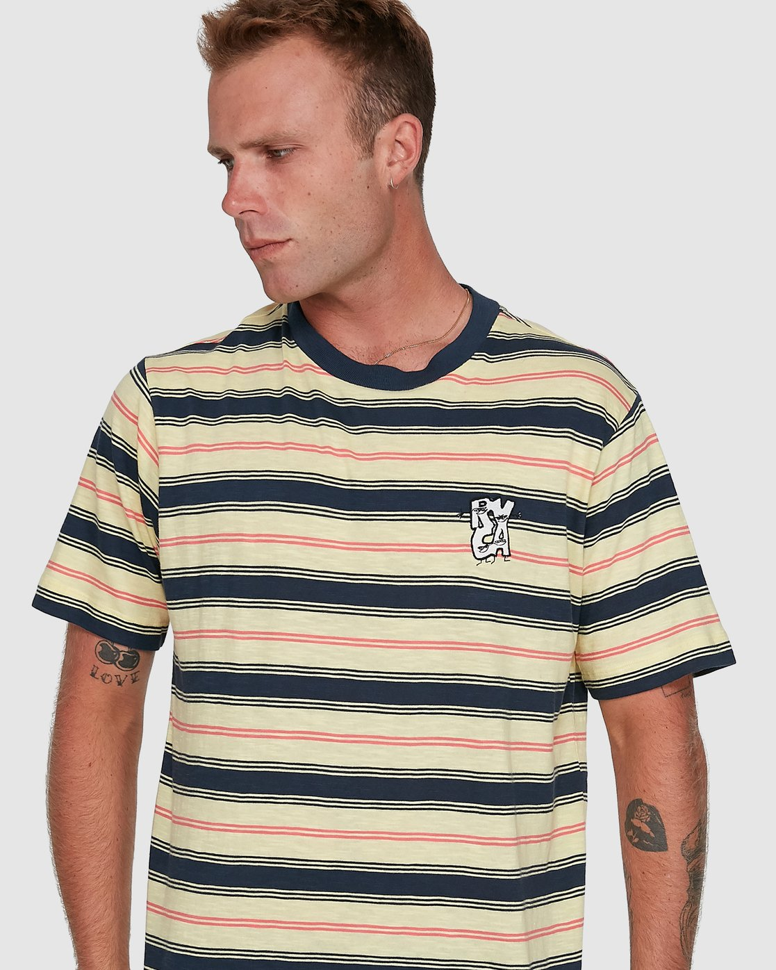 4 Dudes Stripe Short Sleeve Tee Yellow R108050 RVCA