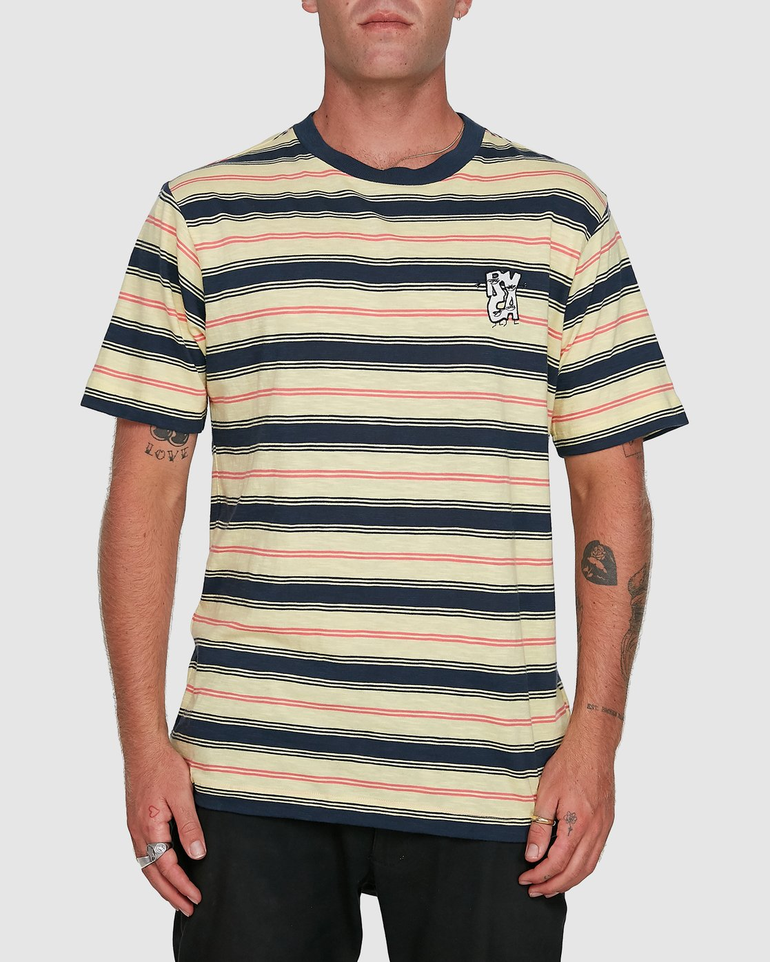 1 Dudes Stripe Short Sleeve Tee Yellow R108050 RVCA