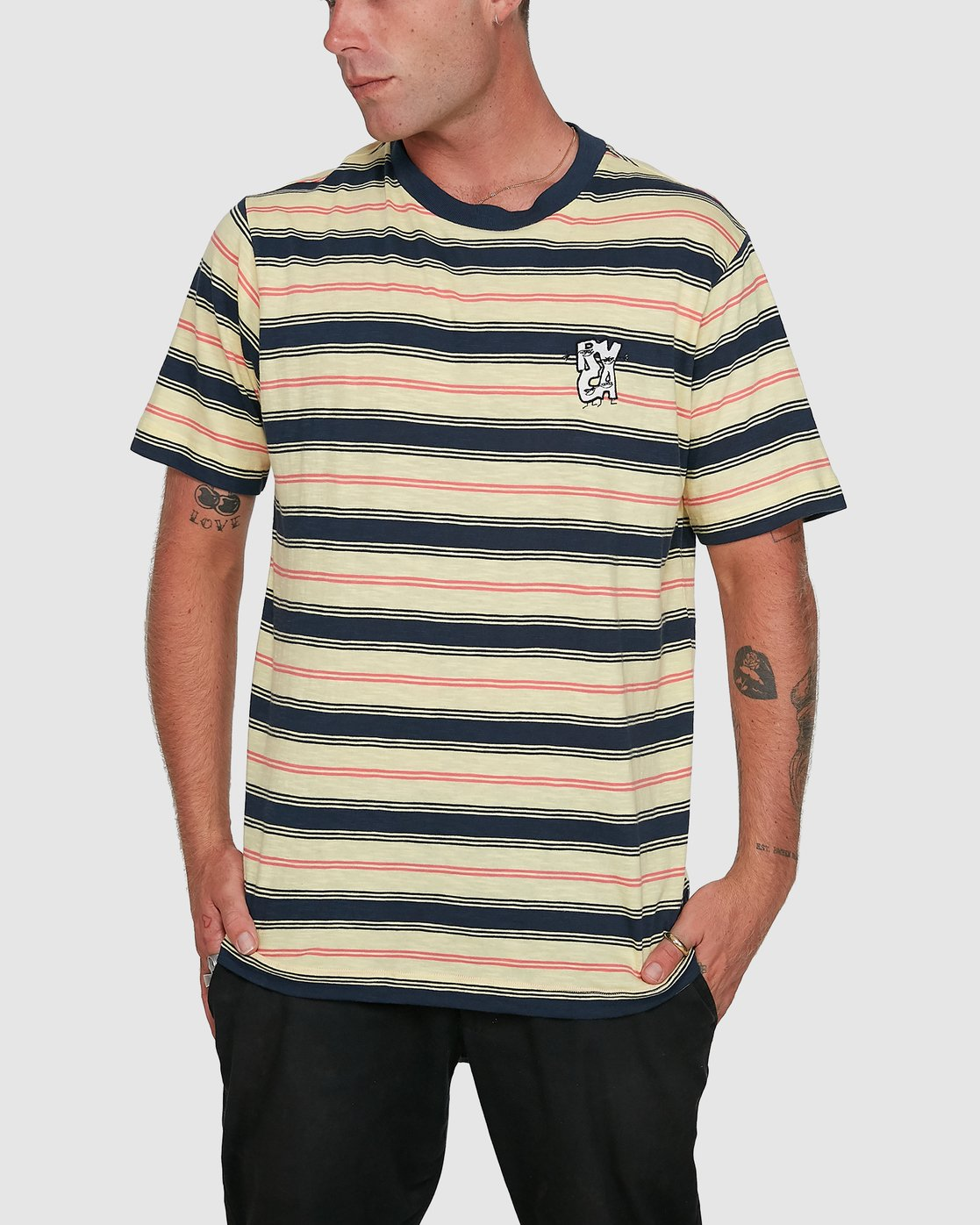 0 Dudes Stripe Short Sleeve Tee Yellow R108050 RVCA