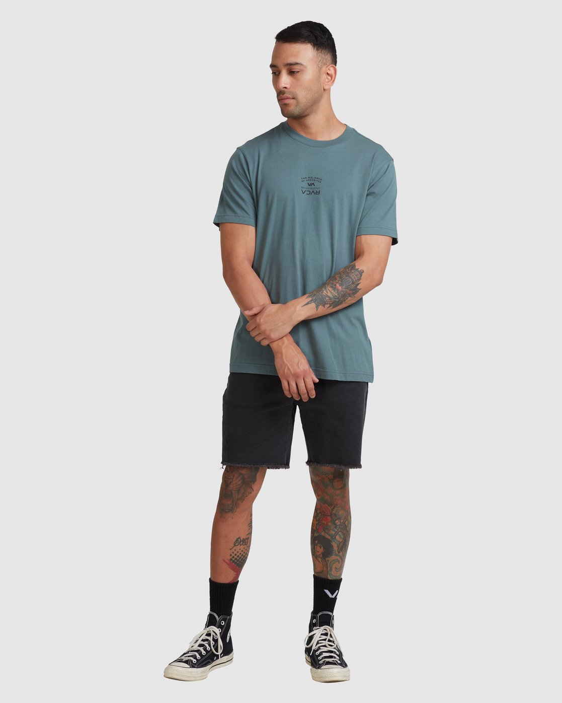 4 Bend It Like RVCA Short Sleeve Tee Green R117041 RVCA