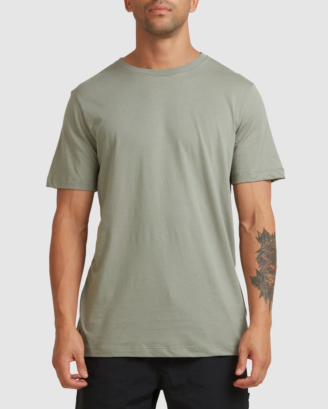 0 RVCA BASIC TEE Green R117067 RVCA