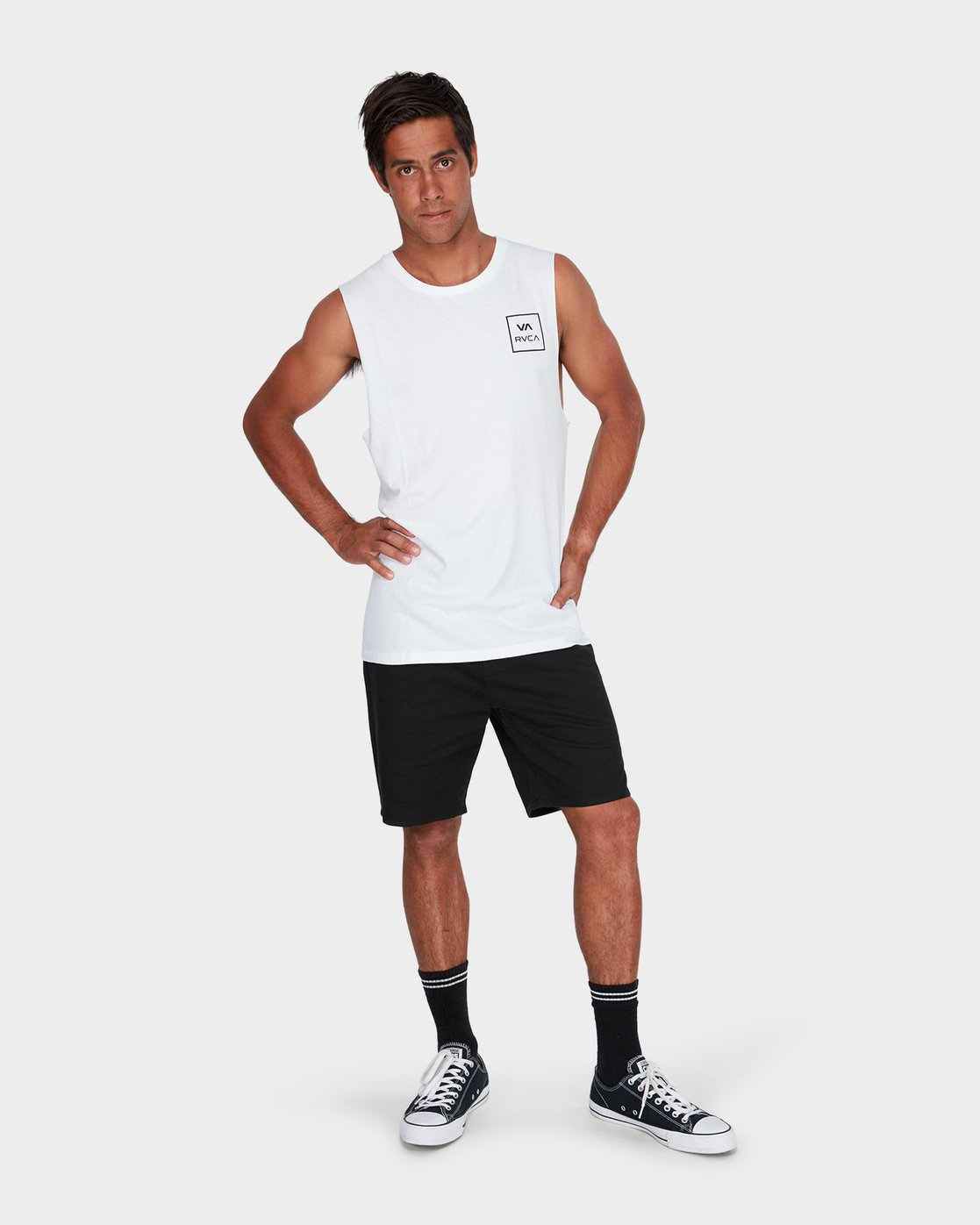3 VA All The Way Muscle White R151012 RVCA