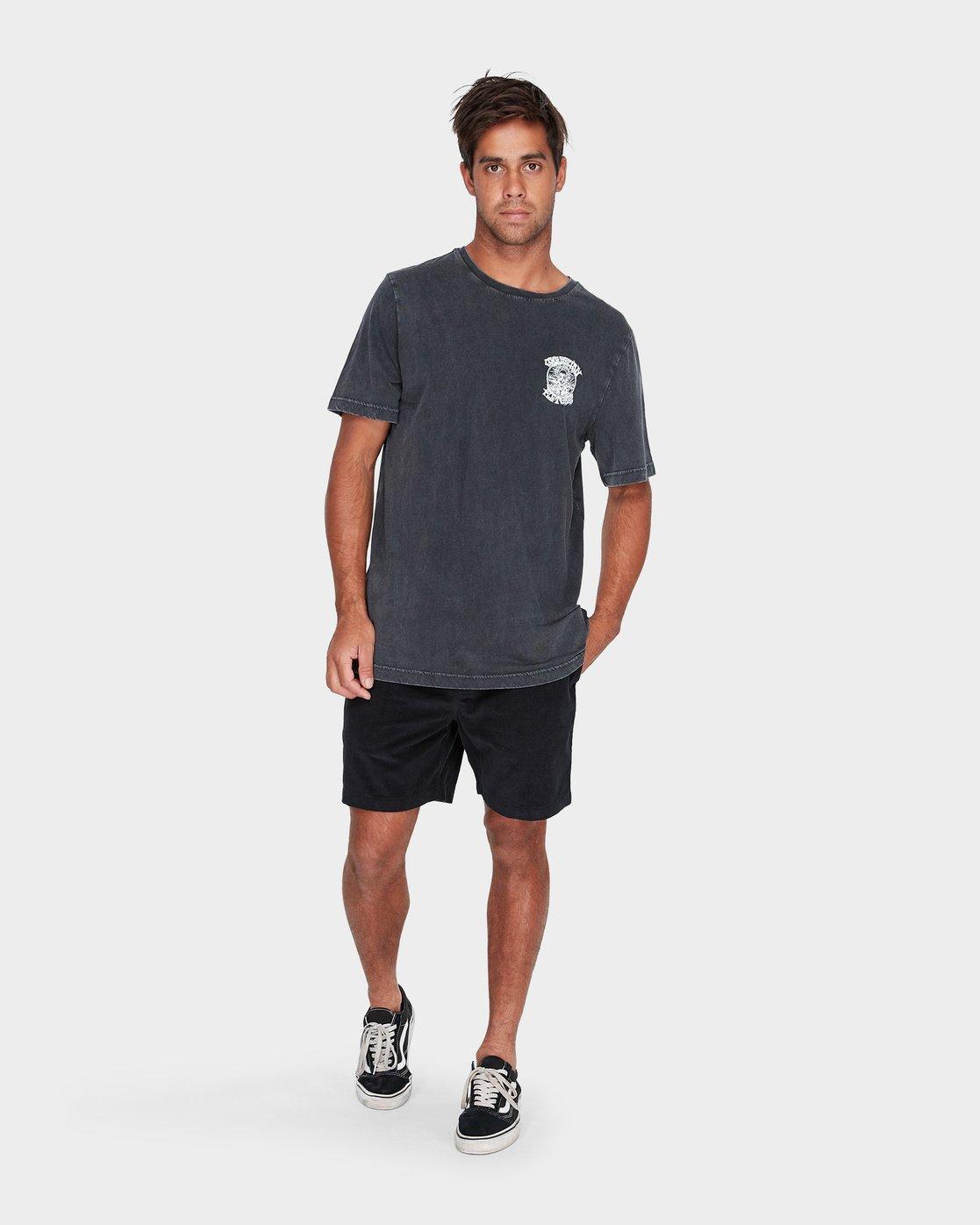 3 Fletcher Pinline Short Sleeve T-Shirt Black R182042 RVCA