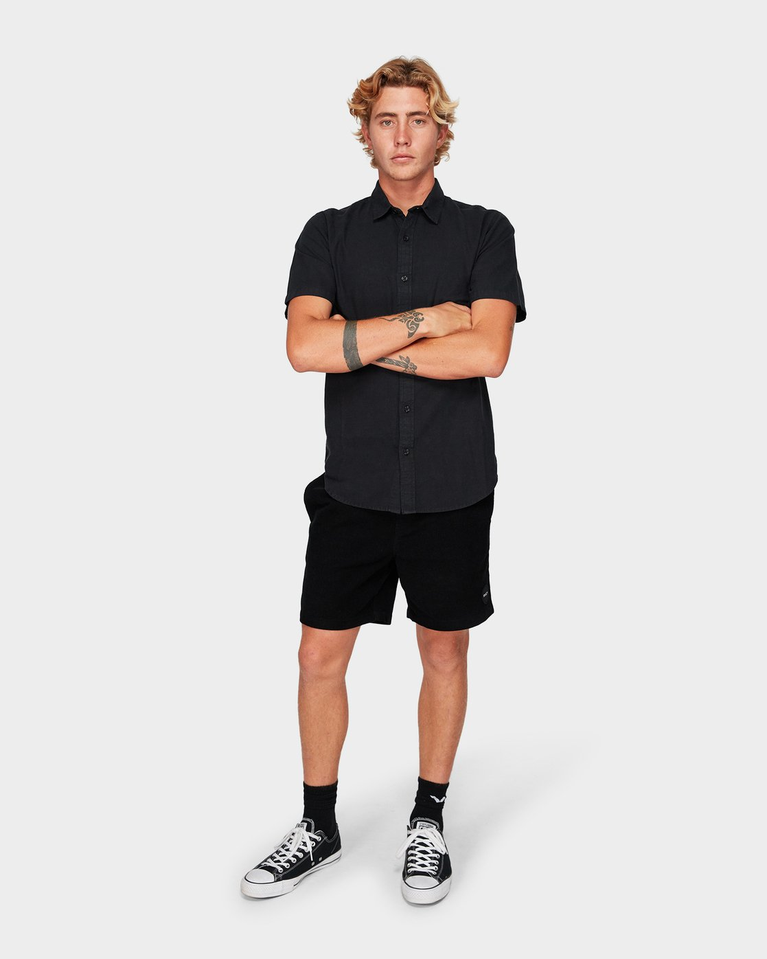 3 Crushed Short Sleeve Shirt Black R182191 RVCA