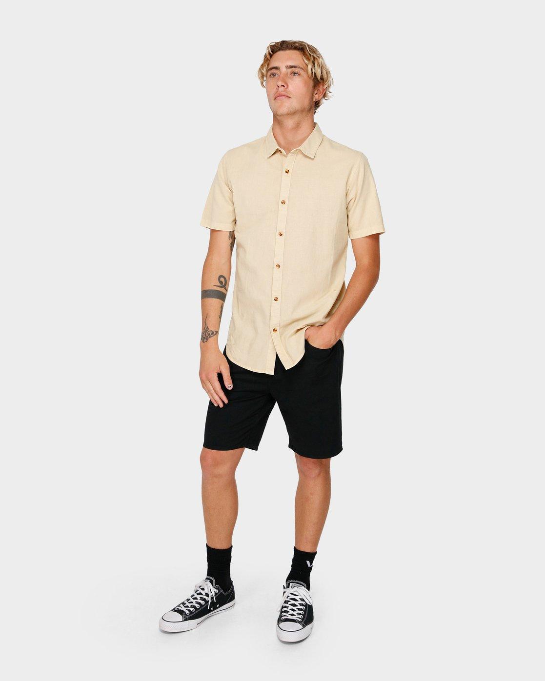 4 Crushed Short Sleeve Shirt Beige R182191 RVCA